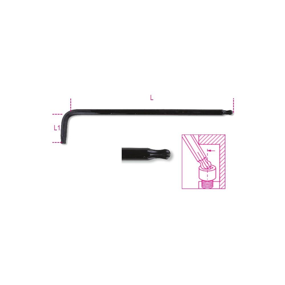 Clé mâle coudée à tête sphérique, série longue, pour vis Torx® - Beta 97BTXL