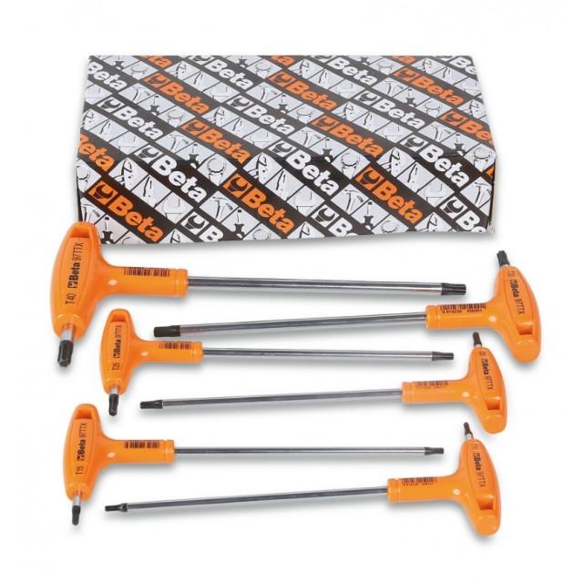 Serie di chiavi maschio piegate con impugnatura per viti con impronta Torx  cromate - Beta 97TTX/S