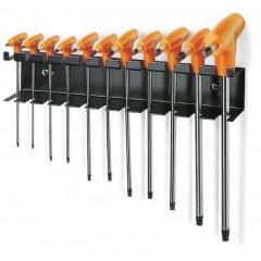 Serie di 11 chiavi maschio piegate con impugnatura per viti con impronta Torx  con supporto - Beta 97TTX/SP