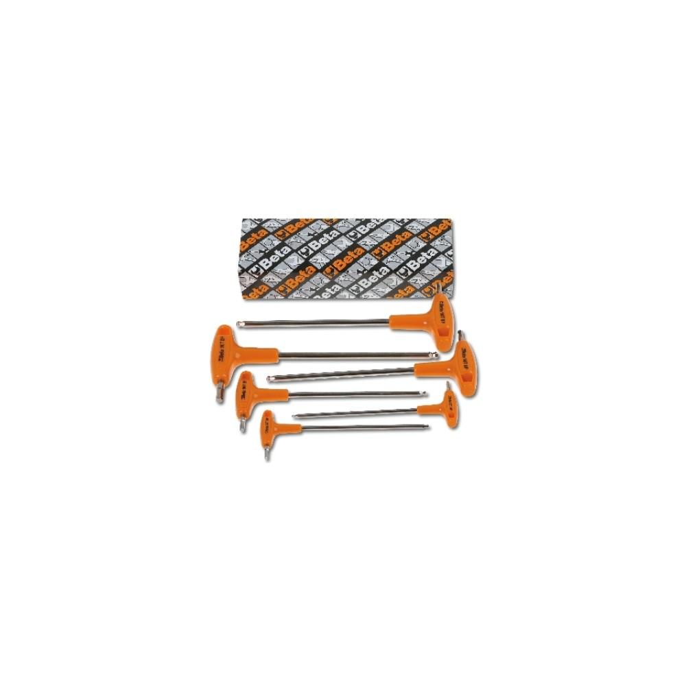 Serie di chiavi maschio esagonale piegate con estremità sferica ed impugnatura di manovra cromate - Beta 96TBP/S