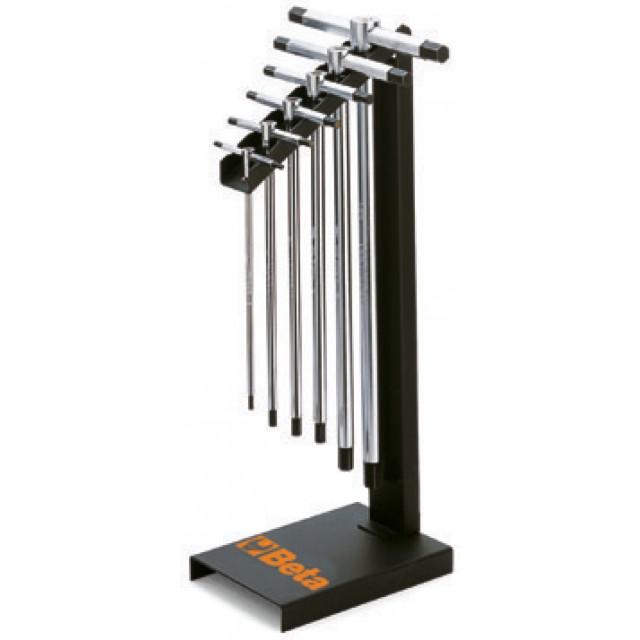 Serie di 6 chiavi a T con tre estremità maschio esagonale (art. 951) con supporto - Beta 951/SP