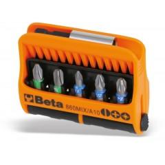 Jeu de 10 embouts pour visseuses et 1 porte-douilles magnétique, en étui de poche - Beta 860MIX/A10