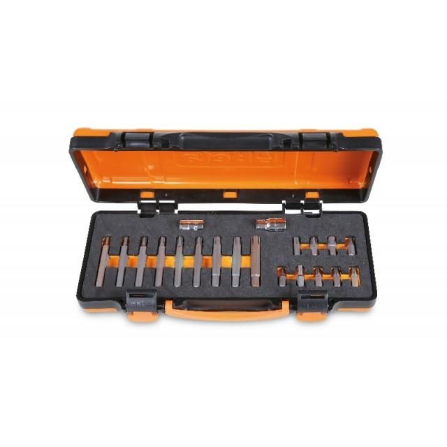 Coffret métallique avec plateau en mousse compacte comprenant 18 embouts pour visseuses pour vis RIBE® avec entraînement