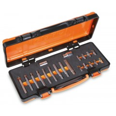 Assortment of 18 bits for RIBE® screws, with 10 mm hexagon drive and 2 accessories,  in soft foam tray and metal case - Beta 867