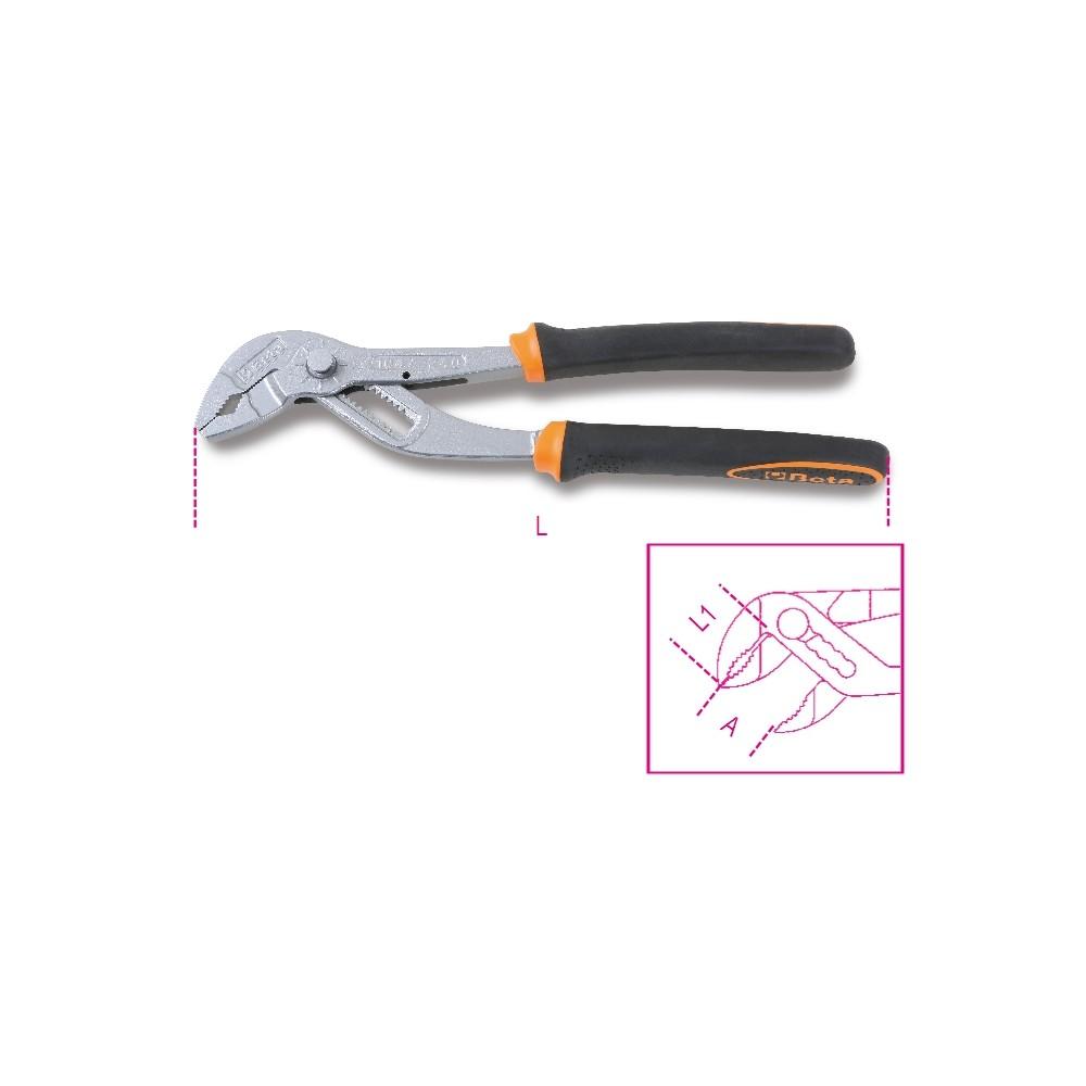 Vízpumpafogó fogasléces, stifttel állítható, bimateriál-nyél - Beta 1047BM