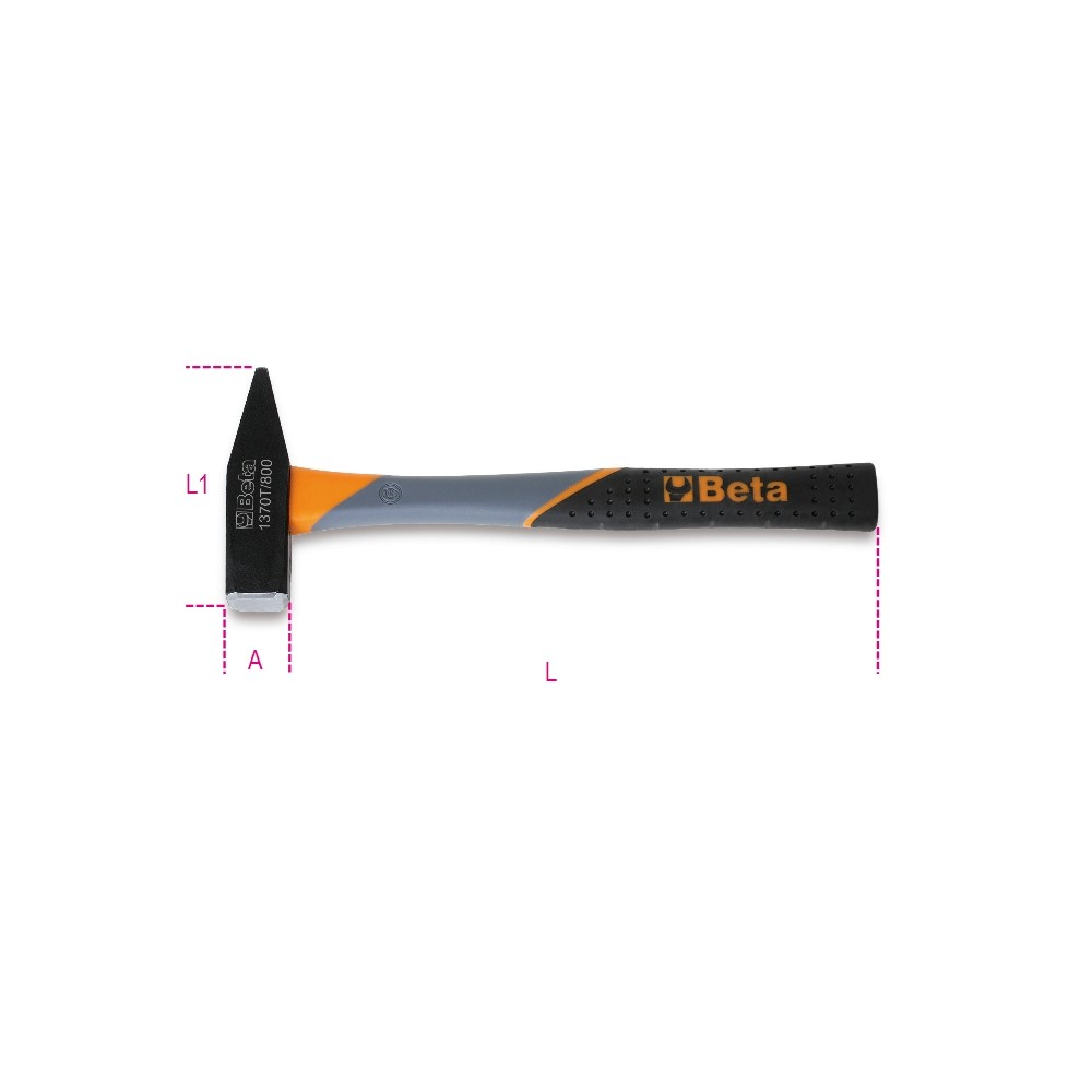 Martelli tipo tedesco per meccanici manico in fibra di vetro - Beta 1370T