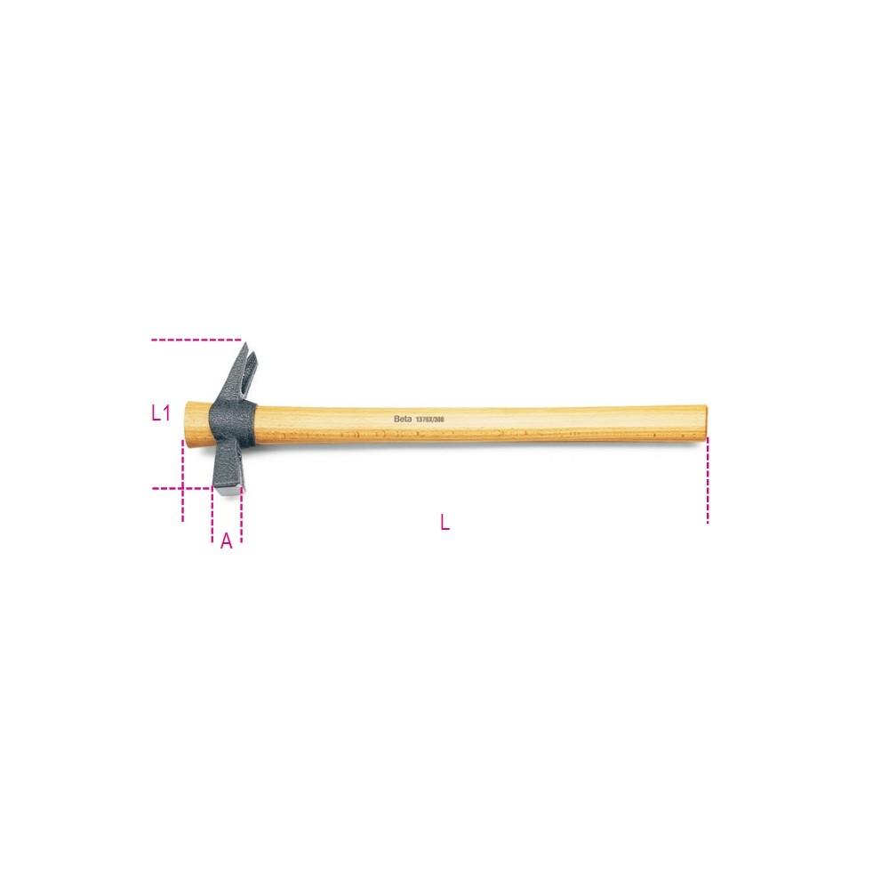 Martelli a testa quadra, con sede portachiodo e penna a granchio per carpentieri manico in legno - Beta 1376X