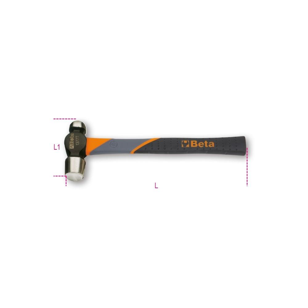Martelli con testa tonda e penna sferica per calderai e lattonieri manico in fibra - Beta 1377T