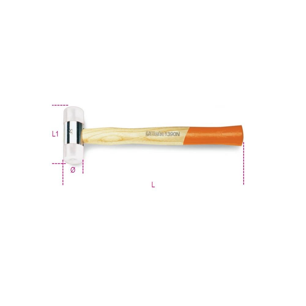 Mazzuole con battenti intercambiabili in nylon, manico in legno - Beta 1390N