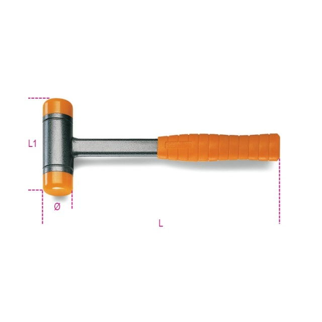 Mazzuole antirimbalzo con battenti intercambiabili in materiale plastico manico in acciaio - Beta 1392