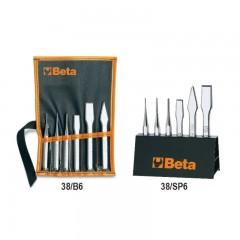Serie di 6 punzoni (art. 30), bulini (art. 32), scalpelli piatti (art. 34) e ugnetti (art. 36), con supporto - Beta 38_serie