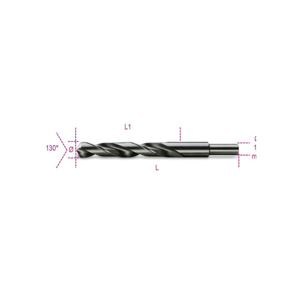 Punte elicoidali cilindriche serie corta in acciaio HSS rettificate brunite con codolo ridotto di 13 mm - Beta 412A