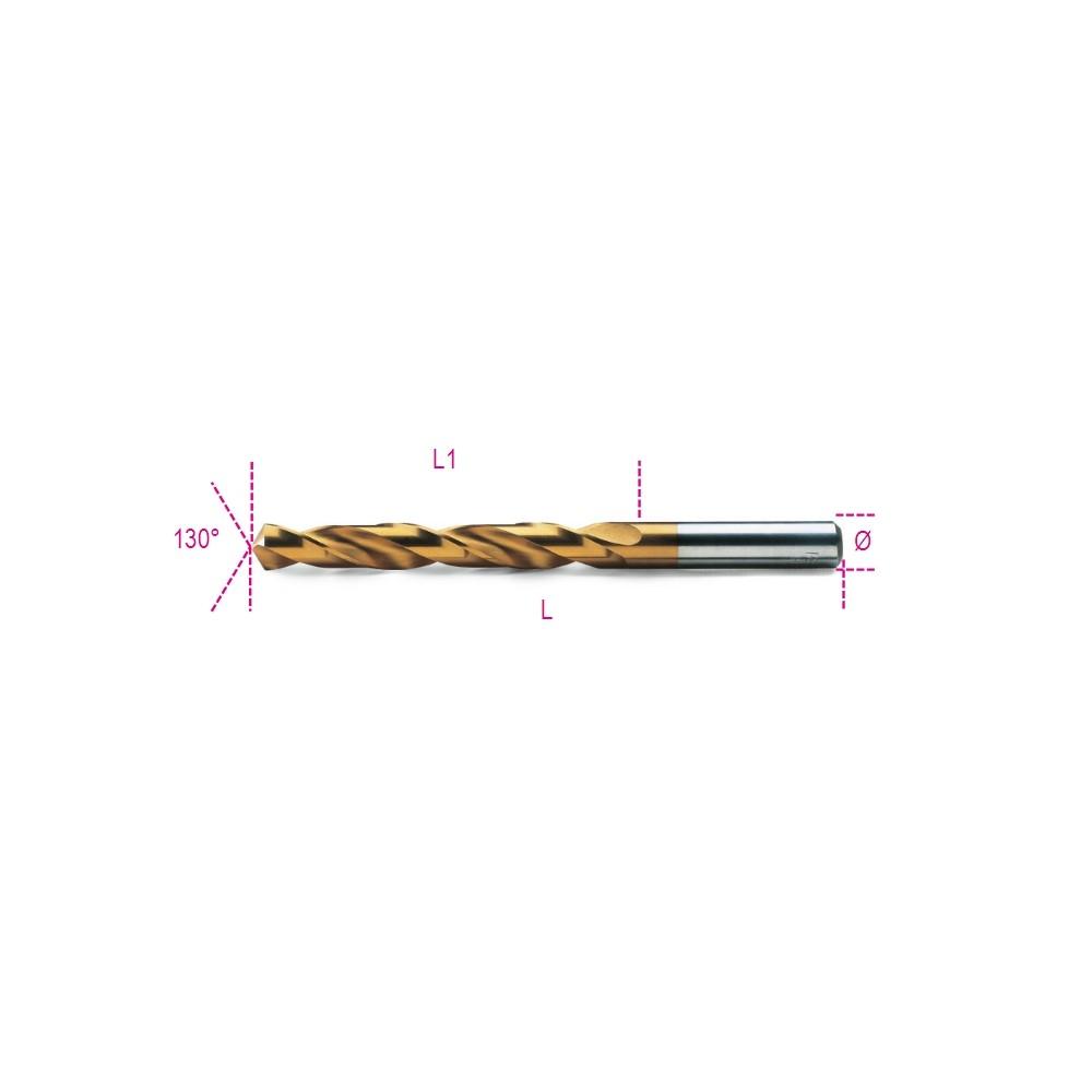 Punte elicoidali cilindriche serie corta in acciaio HSS-TiN rettificate - Beta 414