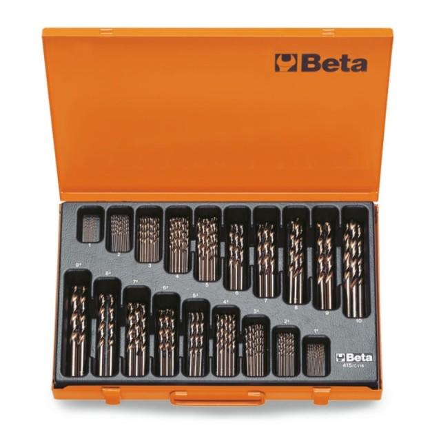 Serie di punte elicoidali cilindriche (art.415) in cassetta - Beta 415/C116