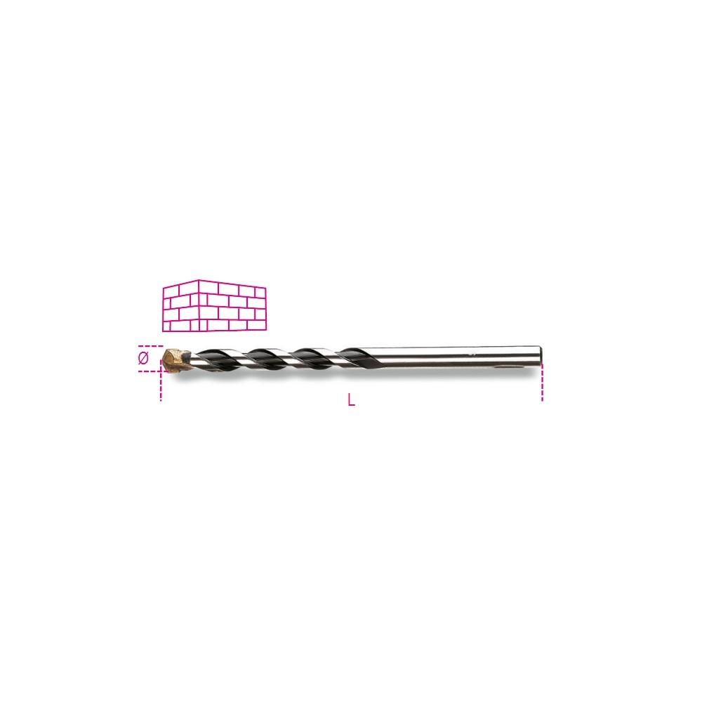 Punte elicoidali cilindriche per muratura serie corta in acciaio fresato con placchetta in metallo duro - Beta 417