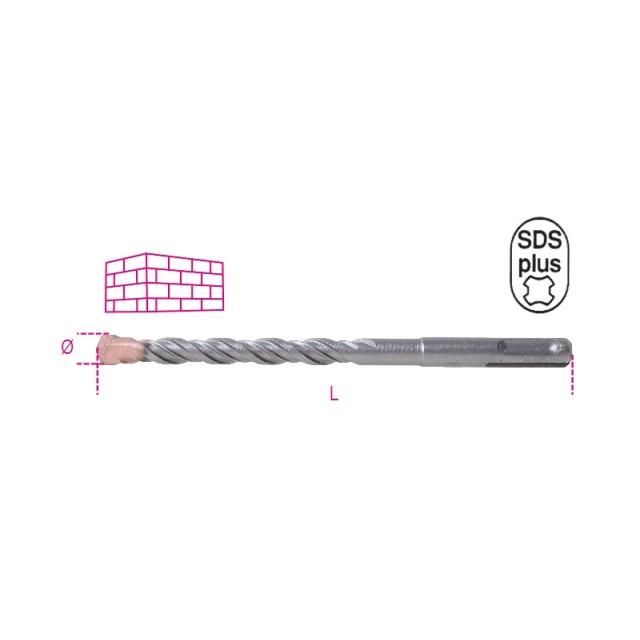 Foret pour marteau perforateur corps fraisé avec plaquette en métal dur, support