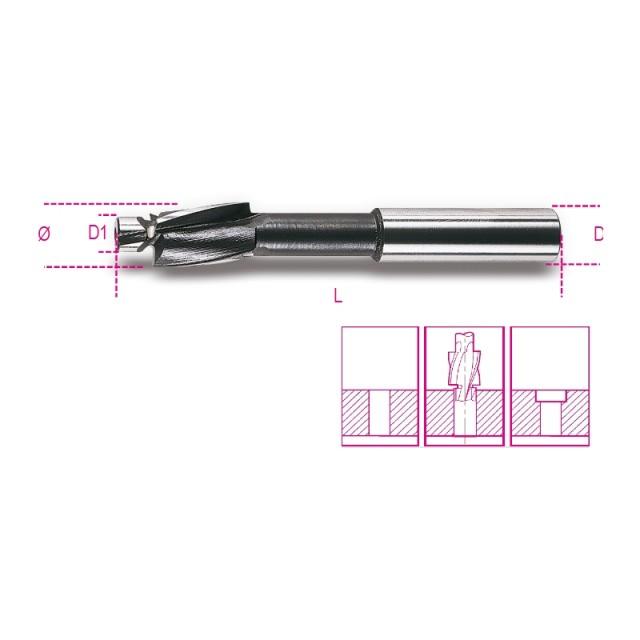 Fraise à noyer pour têtes de vis cylindriques avec guide de centrage en acier HSS - Beta 421