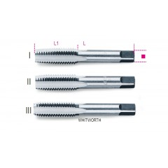 Serie di 3 maschi a mano sgrossatore, intermedio, finitore Whitworth in acciaio al cromo - Beta 430ASW