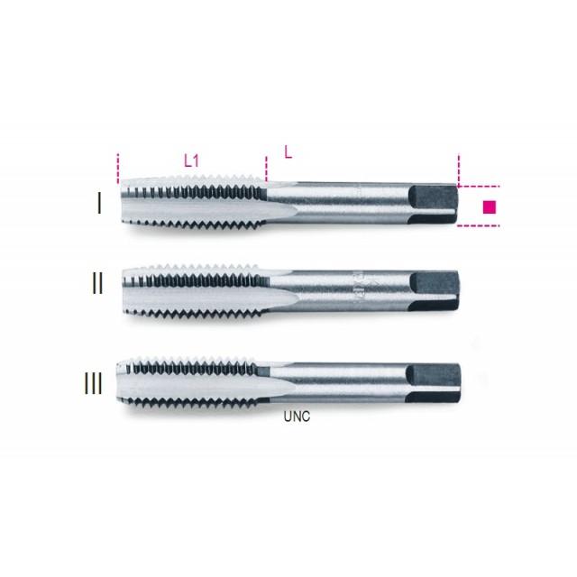 Serie di 3 maschi a mano sgrossatore, intermedio, finitore UNC in acciaio al cromo - Beta 430ASC