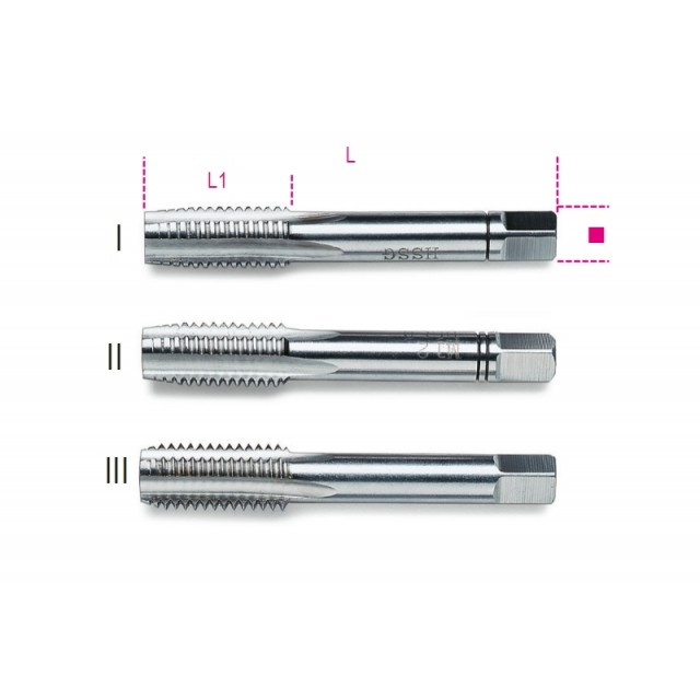 Serie di 3 maschi a mano sgrossatore, intermedio, finitore passo grosso in acciaio HSS - Beta 431