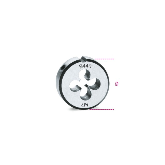 Round dies, coarse pitch, metric thread made from chrome-steel - Beta 440