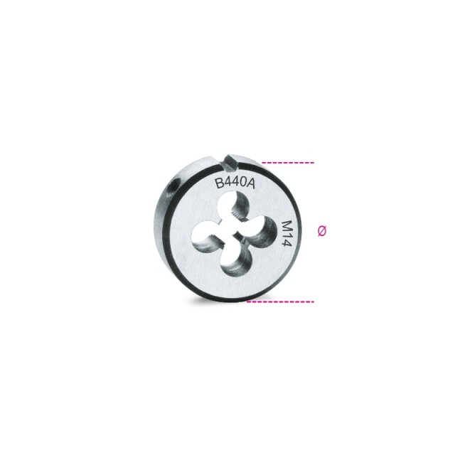Filiere tonde, passo grosso filettatura metrica in acciaio al cromo - Beta 440A