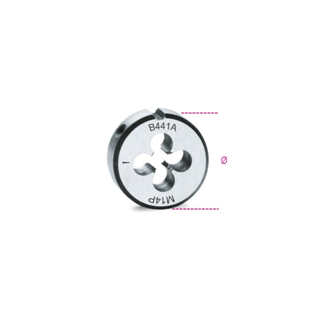 Round dies, fine pitch, metric thread made from chrome-steel - Beta 441A