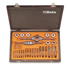 Assortimento di maschi e filiere con accessori in acciaio al cromo filettatura metrica in cassetta di legno - Beta 446/C30