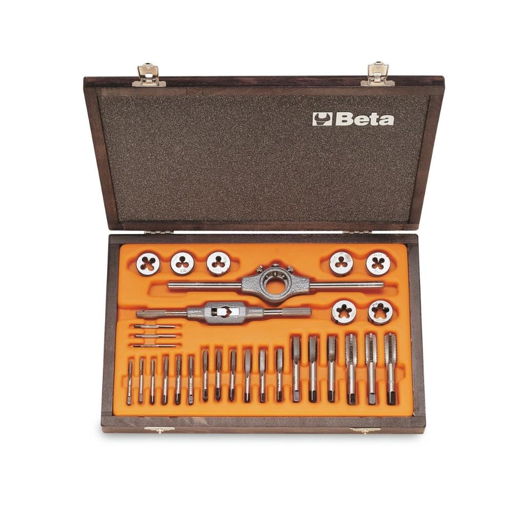 Zestaw gwintowników model 430  i narzynek model 440  ze stali chromowej,  z akcesoriami w pudełku drewnianym - Beta 446/C30