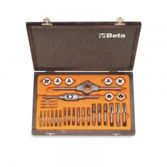 Assortment of chrome-steel taps  and dies, metric thread,  and accessories in wooden case - Beta 446/C30