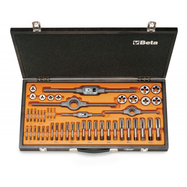 Zestaw gwintowników model 430  i narzynek modele 440 i 440A  ze stali chromowej,  z akcesoriami w pudełku drewnianym - Beta 446/