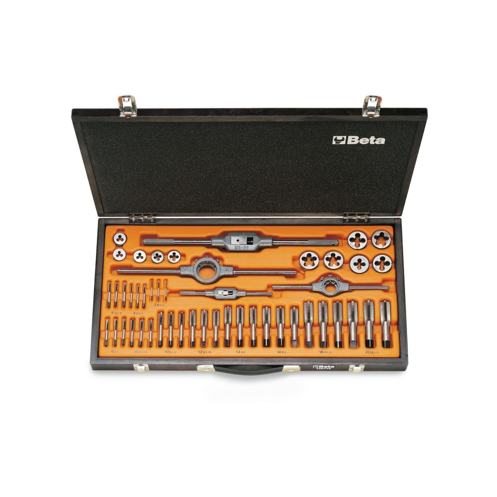 Assortment of chrome-steel taps  and dies, metric thread,  and accessories in wooden case - Beta 446/C48