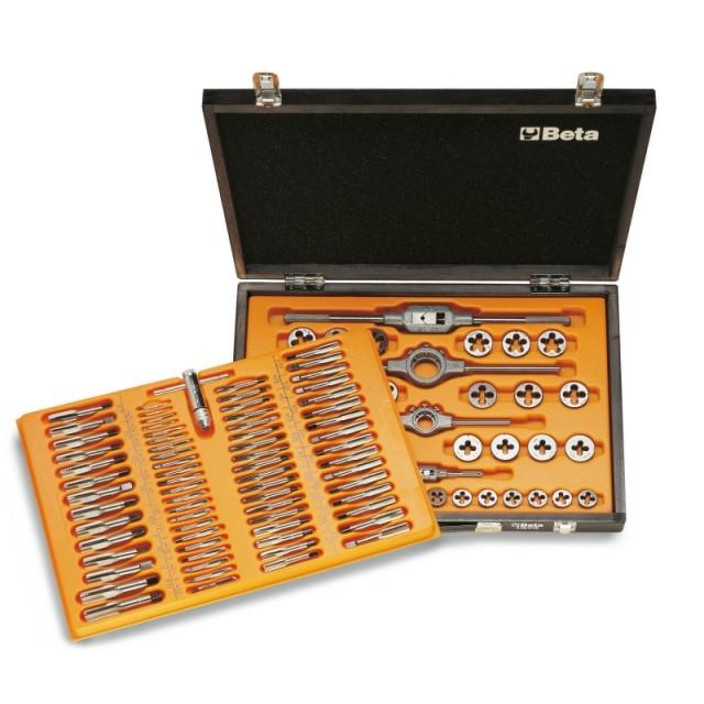 Assortimento di maschi e filiere con accessori in acciaio al cromo filettatura metrica in cassetta di legno - Beta 446/C110