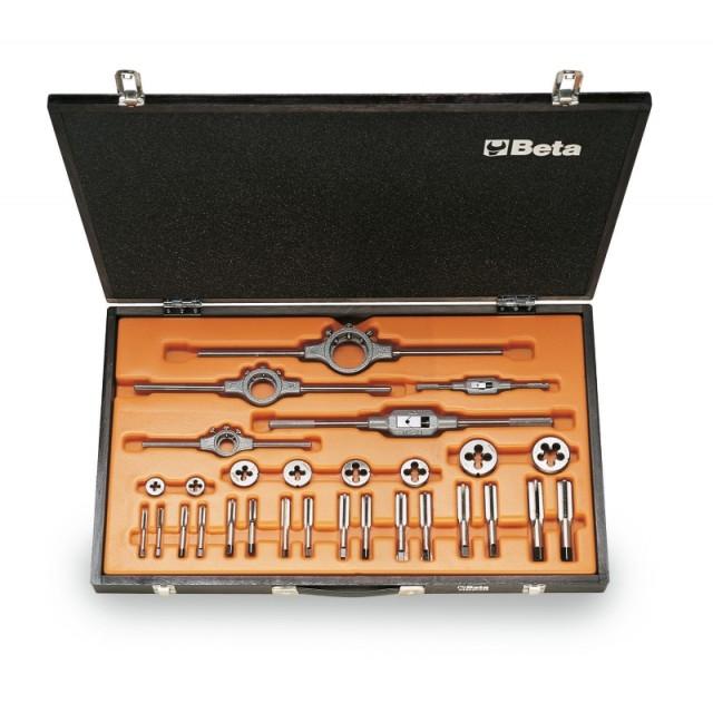 Zestaw gwintowników model 433ASF i narzynek model 440ASF ze stali chromowej, gwint UNF, z akcesoriami w pudełku drewnianym -