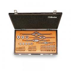 Assortimento di maschi e filiere con accessori in acciaio al cromo filettatura Whitworth in cassetta di legno - Beta 446ASW/C36