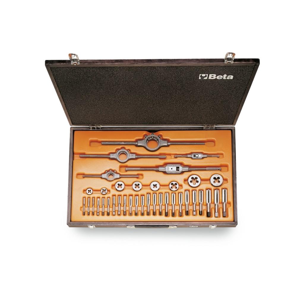 Zestaw gwintowników model 433ASC i narzynek model 440ASC ze stali chromowej, gwint UNC, z akcesoriami w pudełku drewnianym -