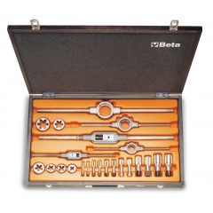 Composition de tarauds 433ASG  et de filières 440ASG  en acier au chrome, filetage GAS,  en coffret bois - Beta 446ASG/C23