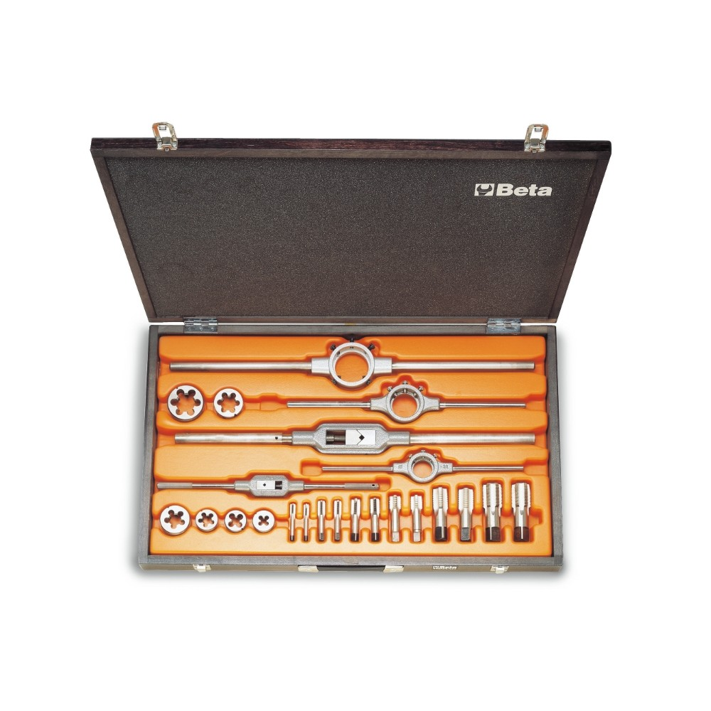 Assortment of chrome-steel taps  and dies, cylindrical GAS thread,  and accessories in wooden case - Beta 446ASG/C23