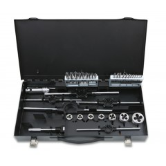 Assortment of HSS taps and dies, metric thread, and accessories in metal case - Beta 447/C37