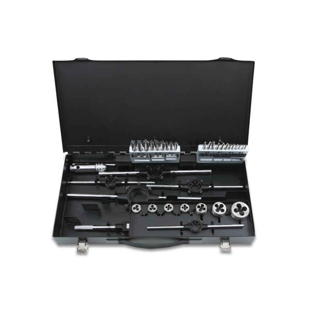 Assortimento di maschi e filiere con accessori in acciaio HSS filettatura metrica in cassetta metallica - Beta 447/C37