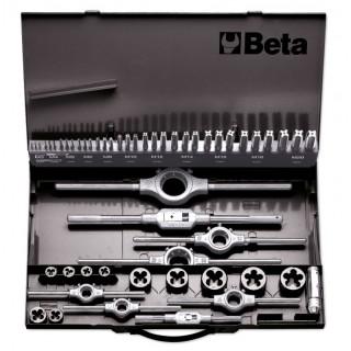 Assortimento di maschi e filiere con accessori in acciaio HSS filettatura metrica in cassetta metallica - Beta 447/C53