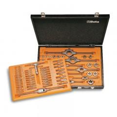 Assortimento di maschi e filiere con accessori in acciaio HSS filettatura metrica in cassetta di legno - Beta 447/C70