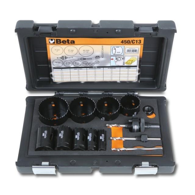 Assortimento di seghe a tazza con accessori per installatori in cassetta di plastica antiurto - Beta 450/C13