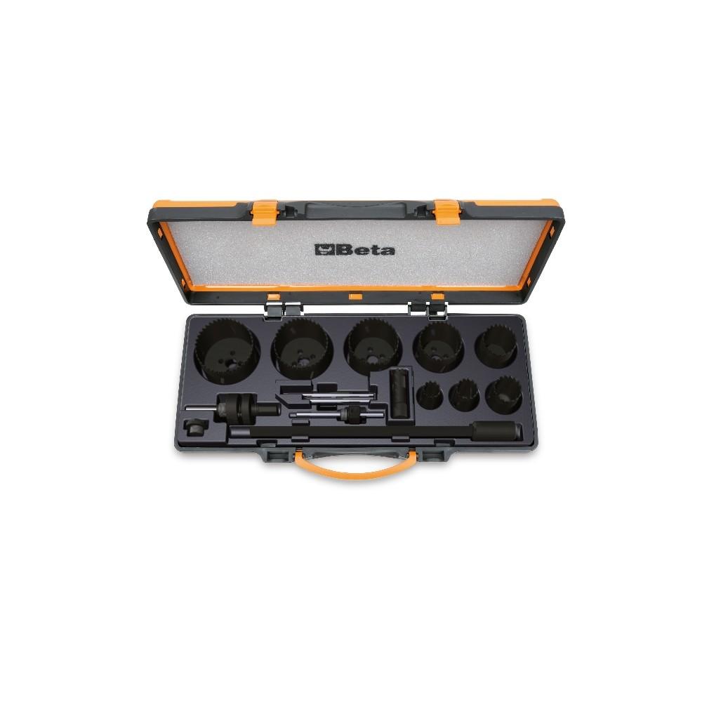 Assortimento di seghe a tazza e accessori per elettricisti in cassetta di metallo - Beta 450/C15