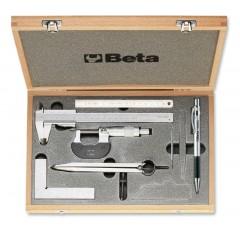 Assortimento di 7 strumenti per misurare e tracciare (art. 1650, 1658/25, 1670, 1680C, 1682, 1688BC) in cassetta - Beta 1685/C7