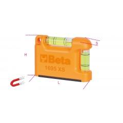 """Livella tascabile con base a """"V"""" magnetica in alluminio profilato 2 fiale infrangibili precisione 1mm/m - Beta 1695XS"""