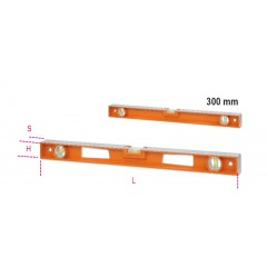 Spirit levels made of die-cast aluminium with handles, 4 ground bases and 3 unbreakable vials, accuracy: 1 mm/m - Beta 1696D