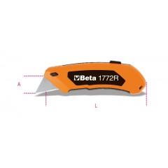 Cutter à lame trapézoïdale rétractable fourni avec 5 lames - Beta 1772R