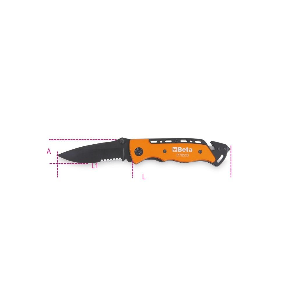 Coltello soccorso auto con funzione martello frangicristallo e tagliacinture di sicurezza • in astuccio - Beta 1778SOS