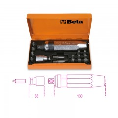 Destornillador de golpe con 14 puntas y 1 vaso portapuntas - Beta 1295/C14